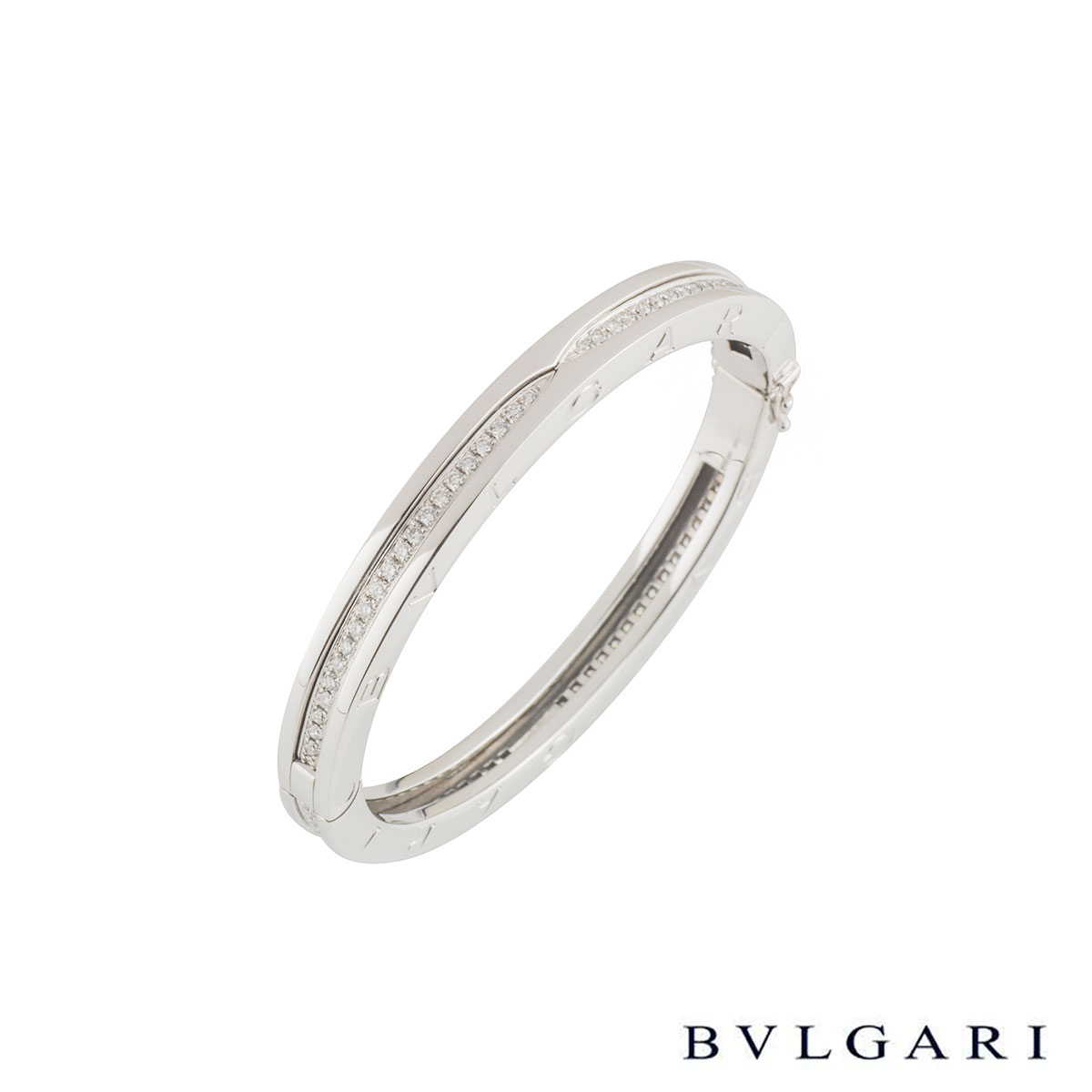 Bvlgari White Gold Diamond B.Zero1 Bangle BR857483